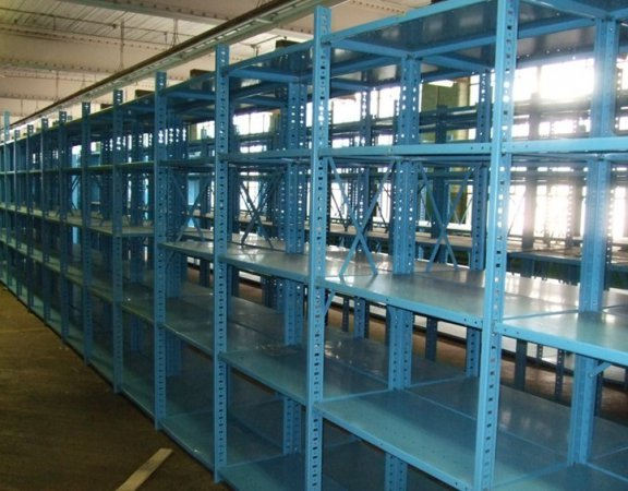 Industrial steel shelving in a building | Krost Used