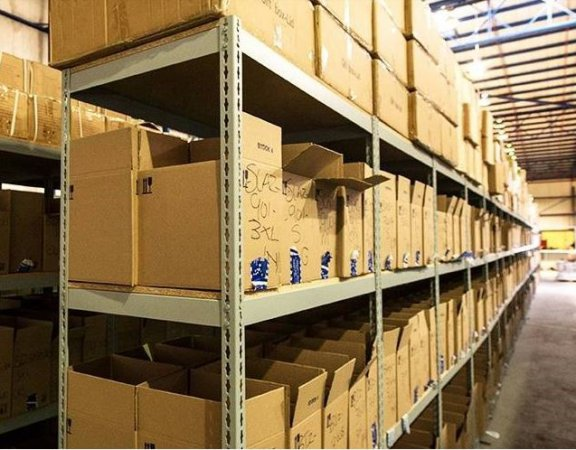 Storage shelves in a warehouse